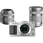 Aparat foto Mirrorless Olympus E-PM2 argintiu + Obiectiv M.ZUIKO Digital 14-42mm f/3.5-5.6 II R + Obiectiv M.ZUIKO Digital ED 40-150 mm f/4.0-5.6 R