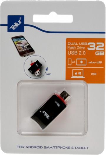 Memorie externa Tellur OTG 32GB USB 2.0 Black-Red