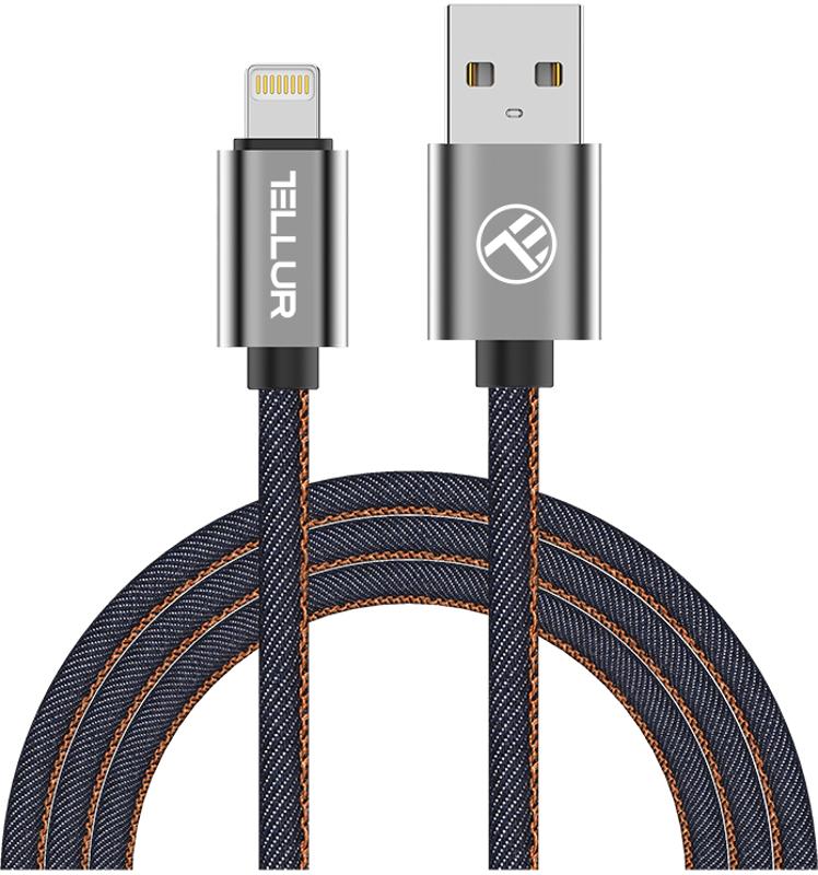 Cablu de date / adaptor Tellur USB Male la Lightning Male, 1 m, MFi, Denim Blue