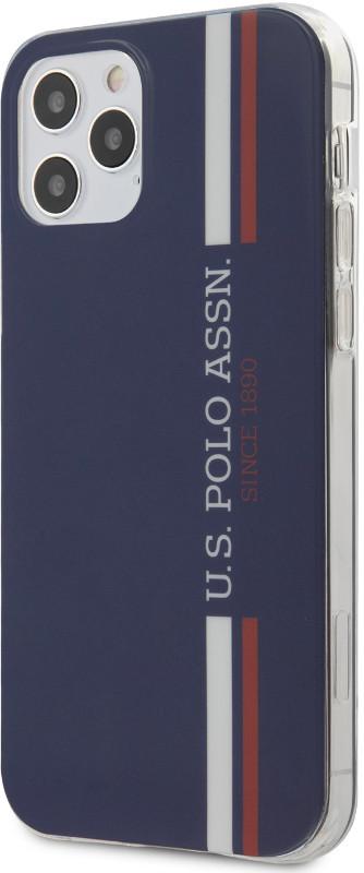US Polo Protectie pentru spate Tricolor Vertical Stripes Navy pentru iPhone 12/12 Pro