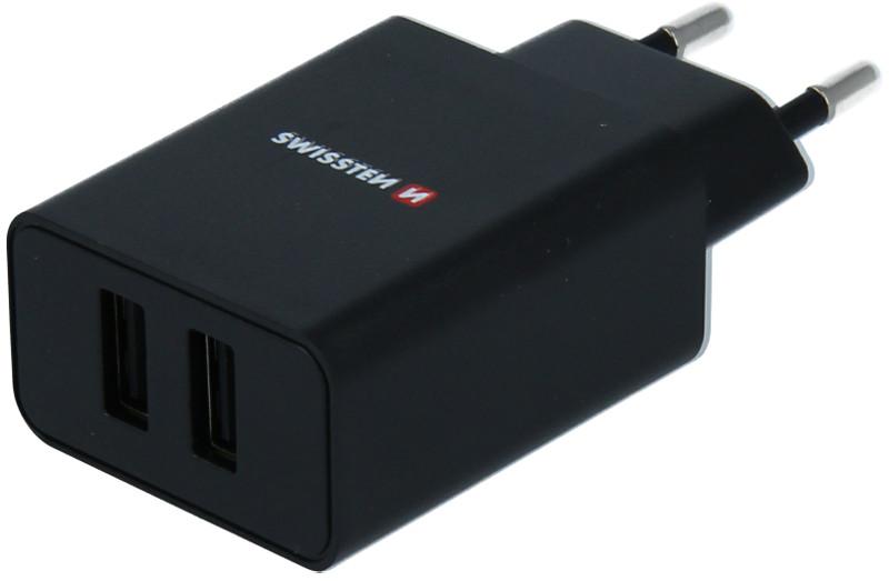 Incarcator retea GSM Swissten Slim, 2x USB, 2.1A, Black cu tehnologia Smart IC + cablu microUSB