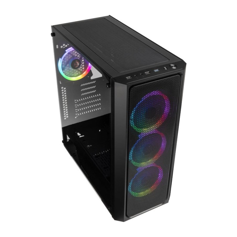 Carcasa Raijintek Ponos,mesh metalic, iluminare RGB, negru 1